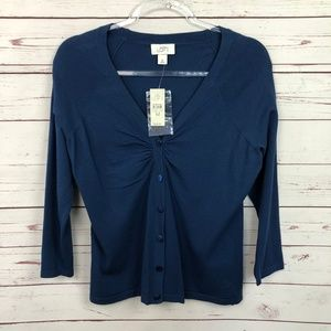 New LOFT Blue V Neck Button Front Cardigan Sweater